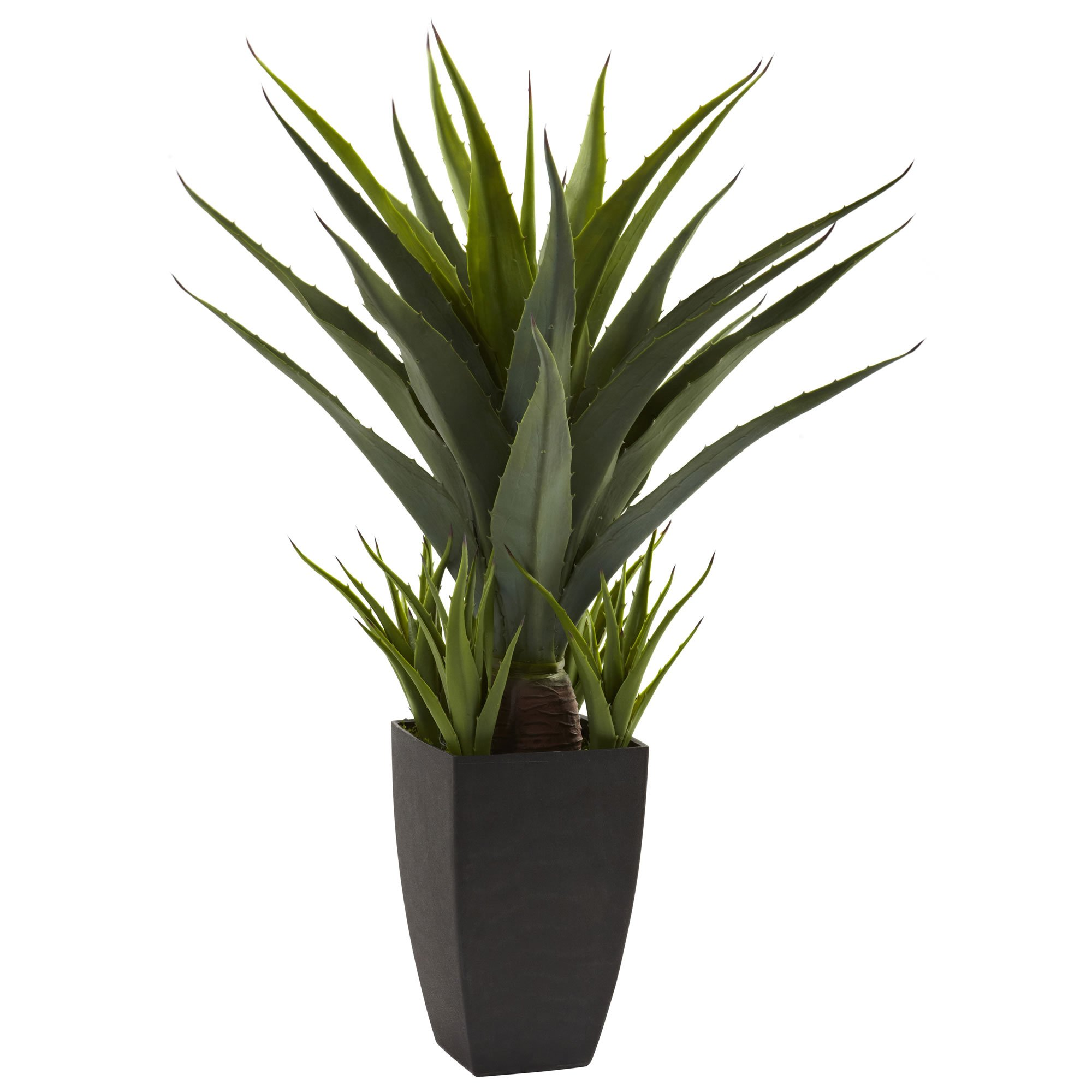 Nearly Natural 4856 Agave Plant with Black Planter, Green by Nearly Natural