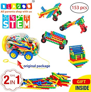 BLAGOO Building Blocks 153 pcs Plastic Sticks Learning Set in Creative Car Case