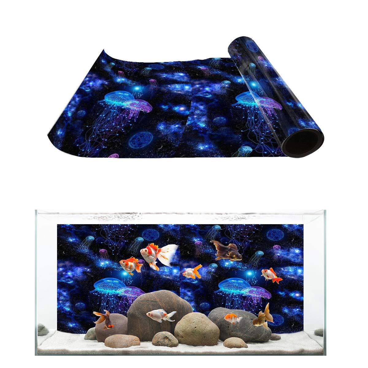 T&H Home Aquarium Décor Backgrounds - Wonderland Starry Jellyfish Fish Tank Background Aquarium Sticker Wallpaper Decoration Picture PVC Adhesive Poster, 48.8'' W x 18.4'' H by T&H Home