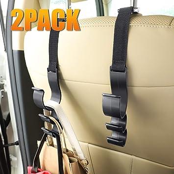 I-MART Car Universal Vehicle SUV Seat Headrest Hanger Storage Organizer Hooks Black Set of 4