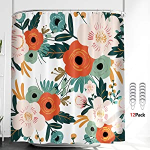 Riyidecor Watercolor Floral Shower Curtain Thicken Heavy Duty Flower Green Season 12 Metal Hooks Blossom Leaves Weighted Hem Polyester Fabric Waterproof Bathroom Home Decor Set 72Wx72H Inch