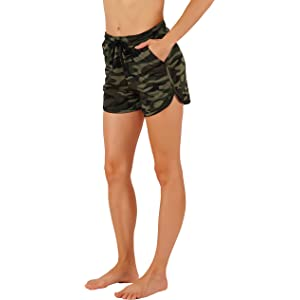 60ac886bb1df3 Vibrant Vixen Women s Camouflage Work Out Print Shorts with Jersey Pocket  Functional Drawstring