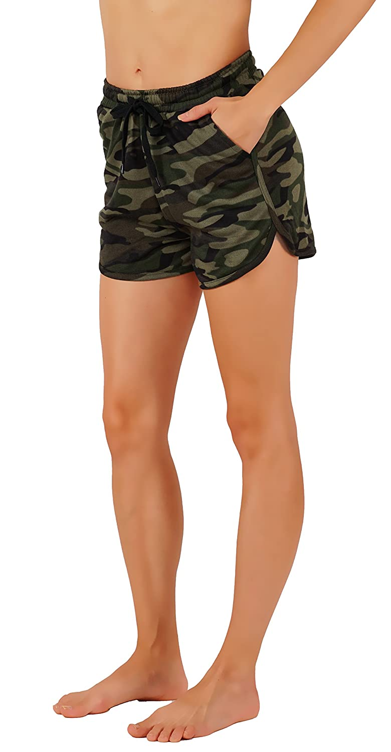 Vibrant Vixen Women's Camouflage Work Out Print Shorts with Jersey Pocket Functional Drawstring VSH61-GRN)