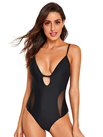 abc90a3a2cb Floerns Plunge Caged Back Swimsuit One Piece High Waisted Bathing Suit Black