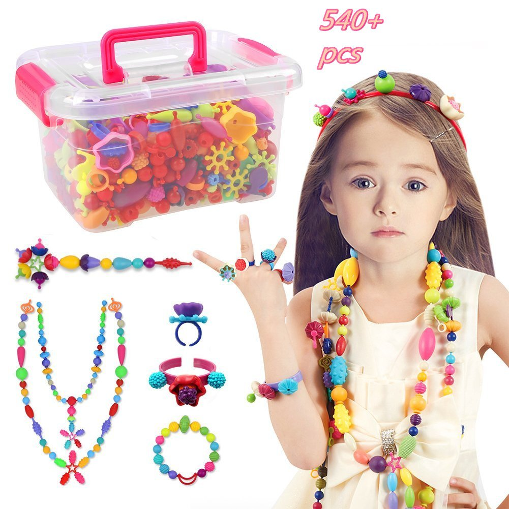 Pop Beads Set - 540+ PCS Snap Together Beads for Girls Toddlers Creative DIY Jewelry Set Toys-Making Necklace, Bracelet, Hairband and Ring - Ideal Gift Idea for Christmas & Birthday New HeyMay