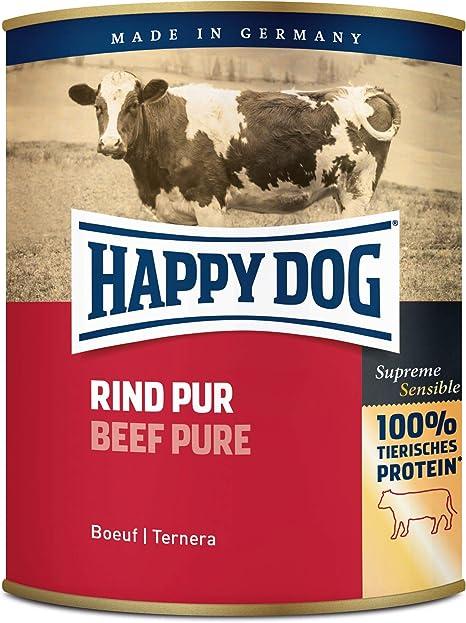Happy Dog Can Pure Beef Rind, Comida para Perros - paquete de 6 x 800 gr