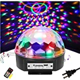 Disco Ball Party Lights - SOLMORE 9 Color LED Disco Stage DJ Lights Strobe Rotating Projector Light Sound Activated with Remote MP3 Play colorful Lighting for Wedding Party Room KTV Bar Parties Show