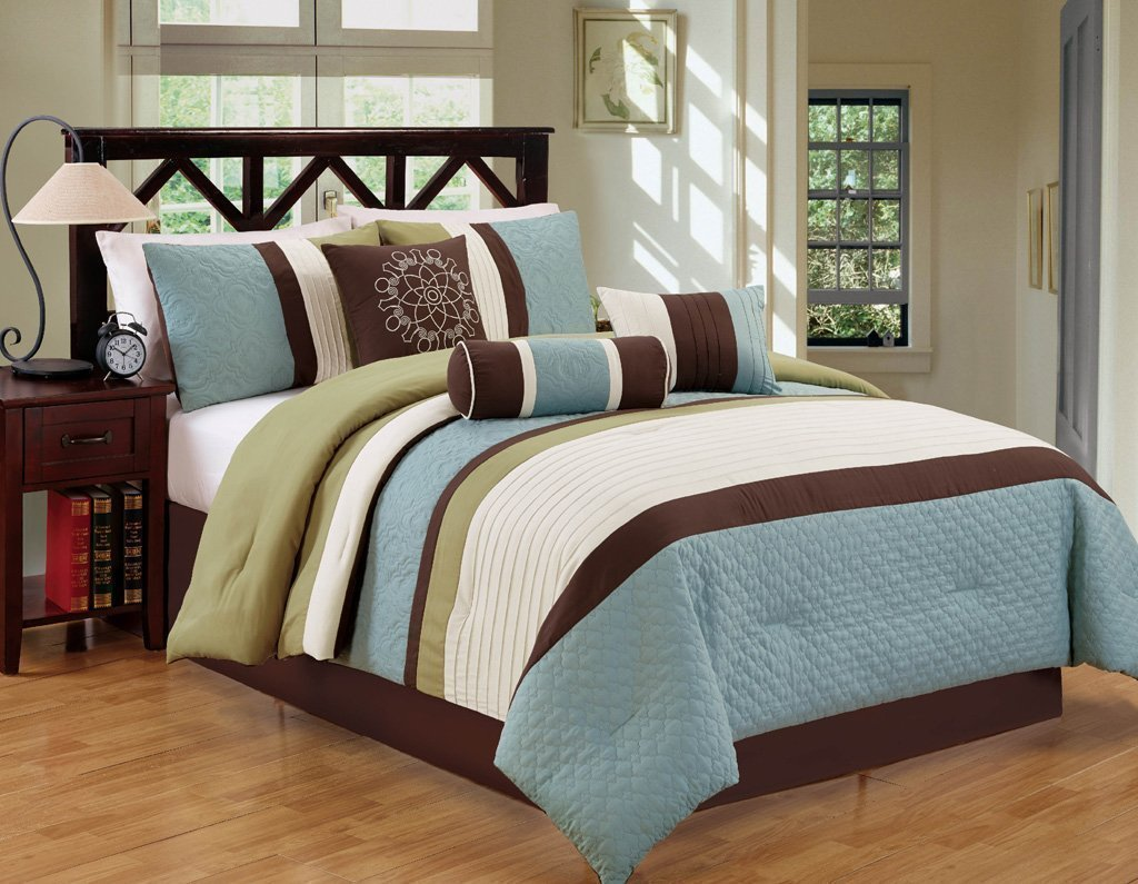 Modern Stripe 7 Piece Bed / Comforter in a Bag (Cal King, Blue / Green) - Closeout