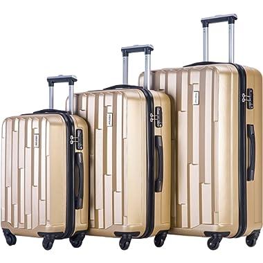 Merax Luggage 3 piece Set (20/24/28) Suitcase Spinner Hardshell With TSA Lock (Champagne)