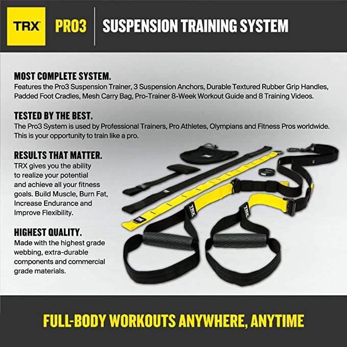 bc16c37dafe9e0 Amazon.com : TRX PRO3 Suspension Trainer System Design & Durability   Includes Three Anchor Solutions, 8 Video Workouts & 8-Week Workout Program  : Home Gyms ...