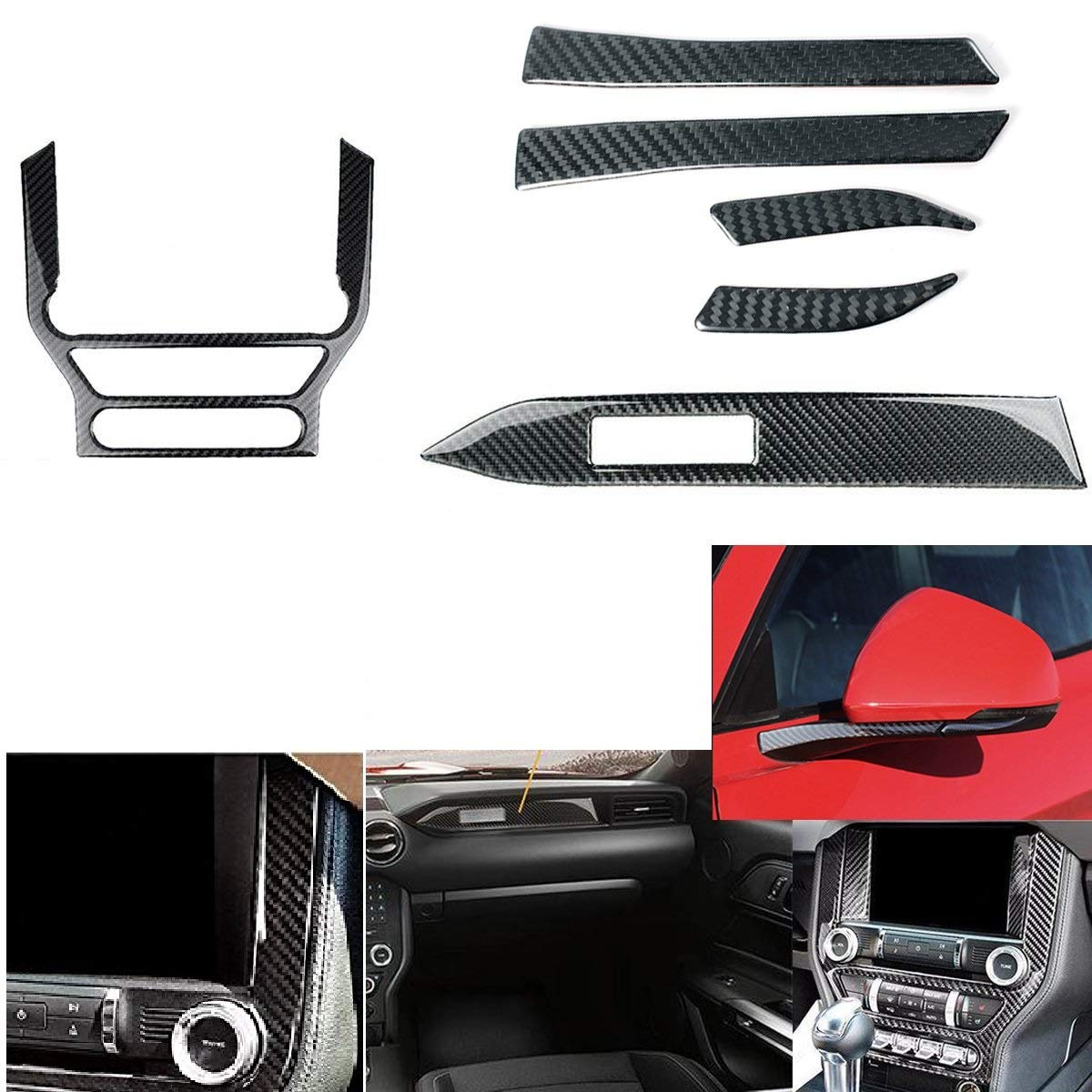 1 Set Real Carbon Fiber Stickers Steering Decoration Cover Emblem Sticker for Ford Mustang 2015-2017