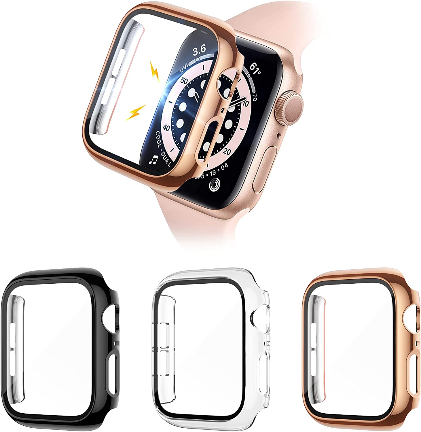 Liwin 3-Pack Tempered Glass Screen Protector Cases Compatible with Apple Watch SE/Series 6/5 / 4 44mm, HD Hard PC Protective Cover Compatible with iWatch Series SE / 6/5 / 4 (Black/Clear/Rose Gold)
