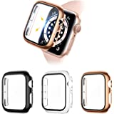 Liwin 3-Pack Tempered Glass Screen Protector Cases Compatible with Apple Watch SE/Series 6/5 / 4 40mm, HD Hard PC Protective