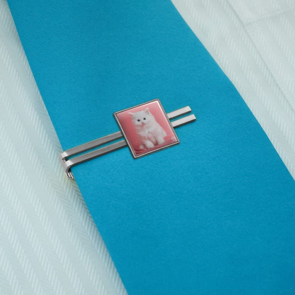 Graphics and More Persian Cat White Kitten on Fuchsia Square Tie Bar Clip Clasp Tack Silver or Gold