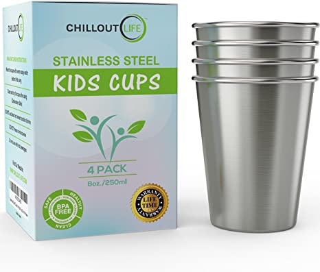 CHILLOUT LIFE Stainless Steel Kids Cups - 4 Pack