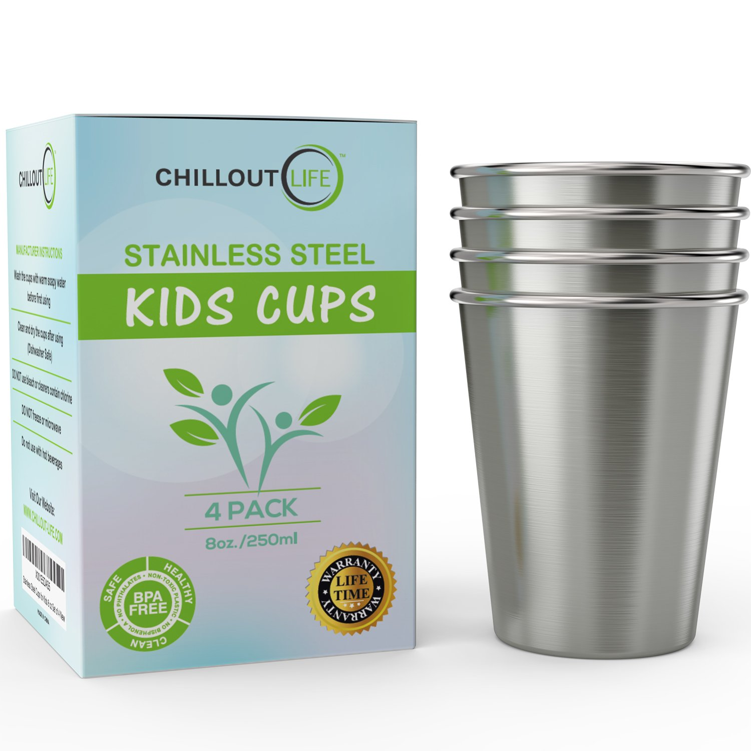 Stainless Steel Cups for Kids and Toddlers 8 oz - Stainless Steel Sippy Cups for Home & Outdoor Activities, BPA Free Healthy Unbreakable Premium Metal Drinking Glasses (4-Pack) by CHILLOUT LIFE