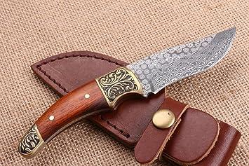 CHENPK04517 Cabeza de cobre tallada y sándalo rojo Hecho a mano Cuchillo recto de acero damasco