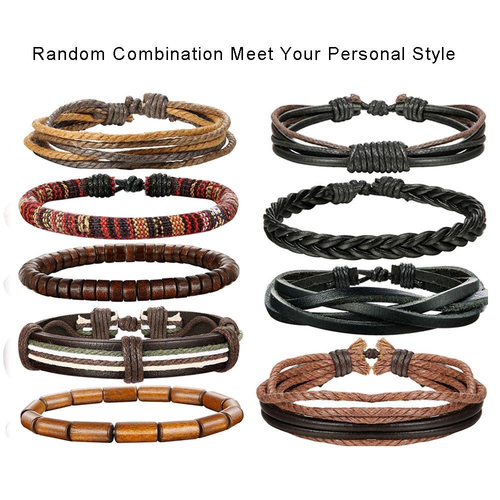 LOLIAS 24 Pcs Woven Leather Bracelet for Men Women Cool Leather Wrist Cuff Bracelets Adjustable by LOLIAS (Image #2)