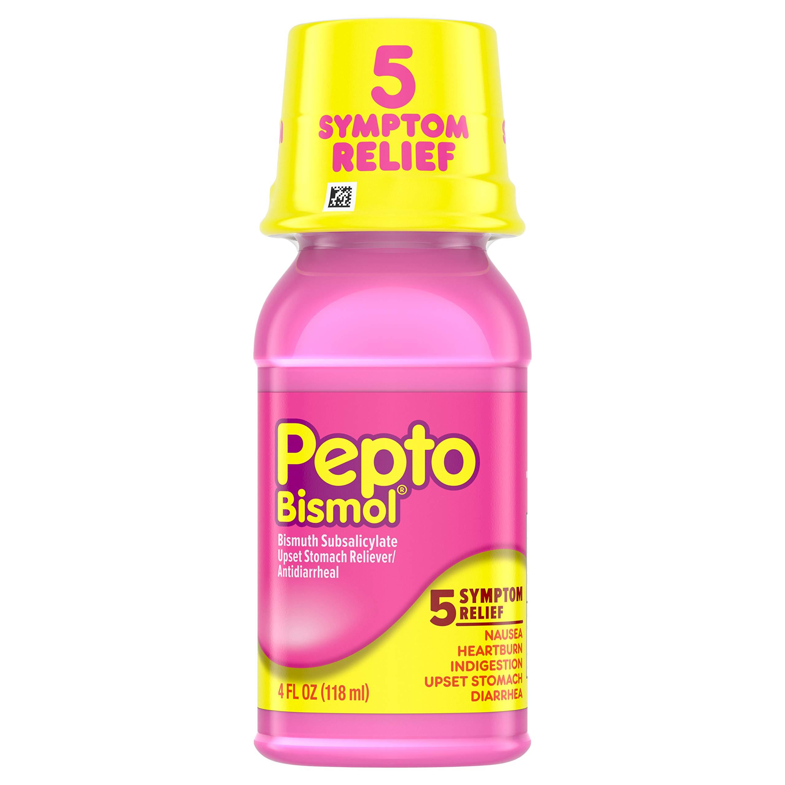 Pepto Bismol Liquid for Nausea, Heartburn, Indigestion, Upset Stomach, and Diarrhea Relief, Original Flavor 4 oz