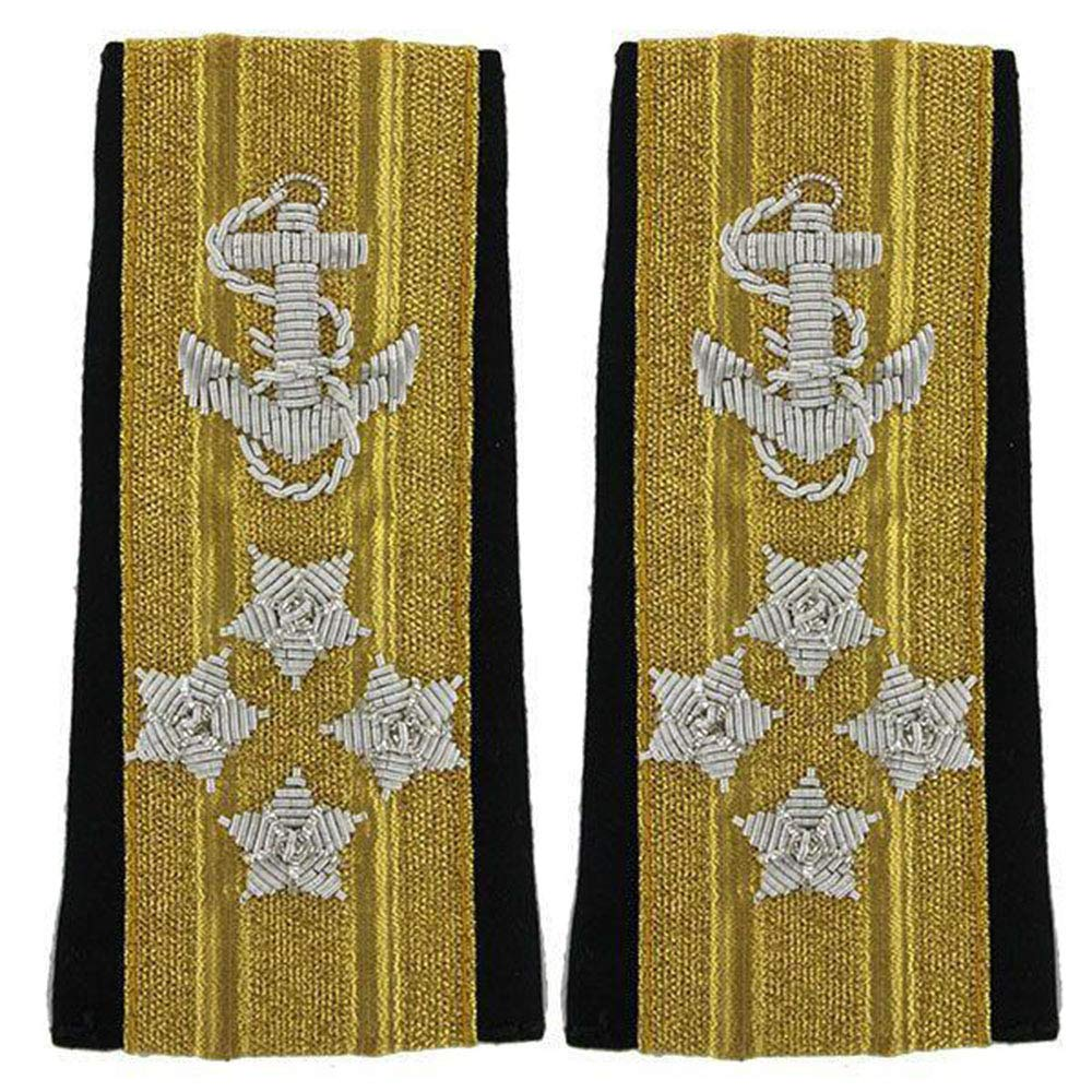 NEW US NAVY SOFT SHOULDER BOARDS 4 STARS MALE LINE OFFICER RANK ADMIRAL - Hi Quality CP MADE PAIR