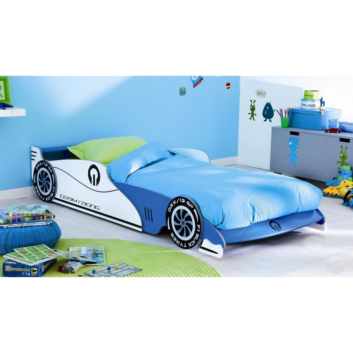 Demeyere 203893 Grand Prix Lit Voiture Extensible MDF Bleu 101 -5 x 209 x 40 -5 cm