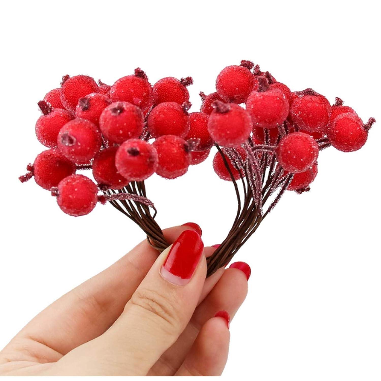 120pcs Mini Baya De Acebo Helado De Fruta Flores Artificial Decoración Navidad Para La Boda En Casa Decoración De Cumpleaños Party Roja Plantas Y Flores Artificiales Hogar Y Cocina
