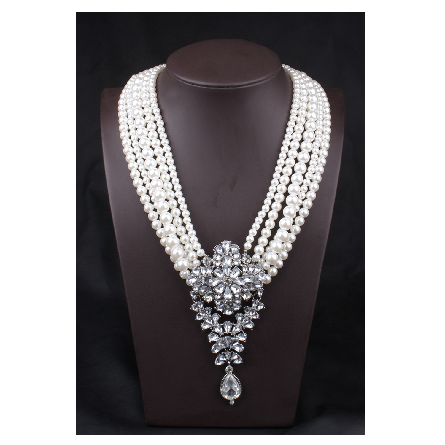 Hamer Women's White Pearl Crystal Long Pendant Link Chain Statement Choker Necklace Jewelry Luxury