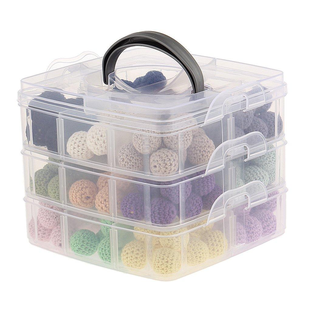 MagiDeal DIY Natürliche Geometrie Runde Hexagon Holz Perlen Baby Beißring Spielzeug 2