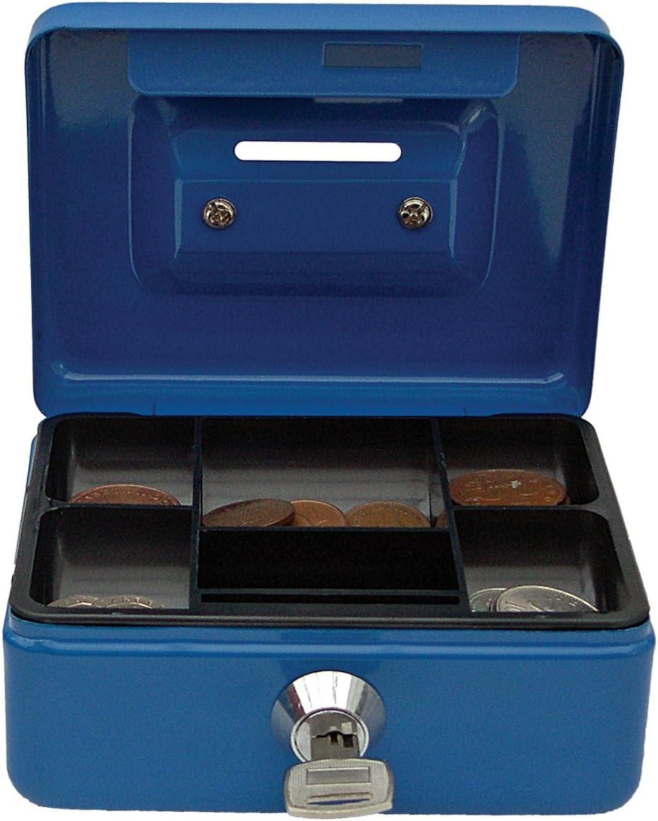 Cathedral - Caja metálica para dinero, cerradura, 2 llaves, color azul: Amazon.es: Oficina y papelería
