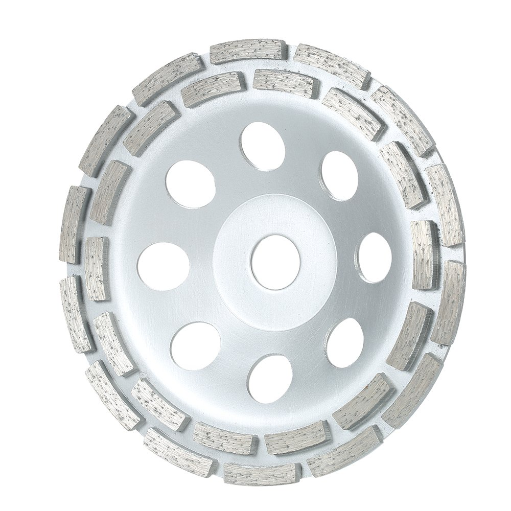 Walmeck 7'' Diamond 2 Row Segment Grinding Wheel for Concrete,Granite Masonry Stone, Ceramics Terrazzo,Marble Building