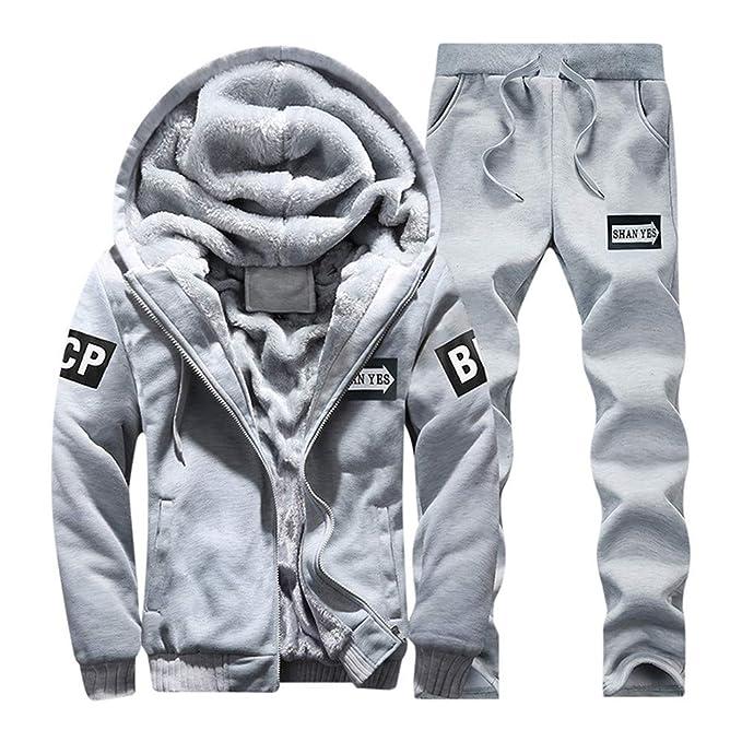 SOLELING Uomo Patchwork Sportivo Felpa con Cappuccio da in Caldo Inverno  Cerniera Giacca Outwear Coat Top Set di Pantaloni Tuta Autunno per Calda  Pile Zip E ... f3e88c611da0
