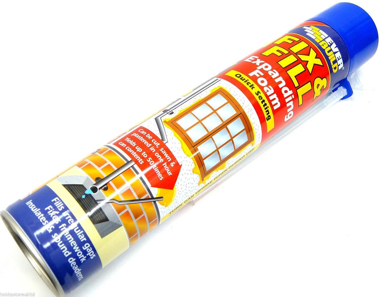 Nunca construir Fix y llenar espuma spray de espuma de relleno de espuma expansiva rápido ajuste 750 ml: Amazon.es: Hogar