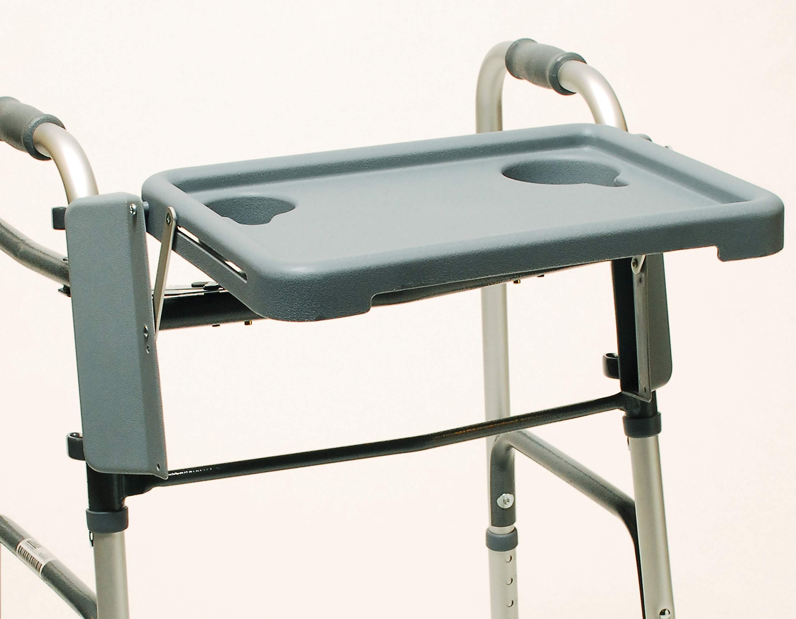 Lumex Folding Walker Tray with Cup Holders and Tool-Free Assembly, Grey, 603900A by Graham-Field