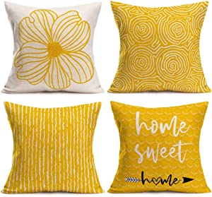 Asamour Pack of 4 Yellow Home Decorative Pillow Covers 18x18 Inch Modern Geometric Honeycomb Flower Arrow Linen Throw Pillow Case Cushion Cover with Sweet Home Quote for Outdoor Holiday Decorations