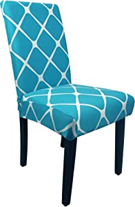 2 Pieces Dining Chair Covers, Stretch Washable Geometric Pattern Chair Slipcovers, for Dining Room Kitchen Home Hotel Table Banquet Sets, Peacock Blue