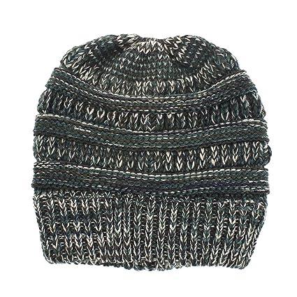 haodene gorra mujer cola caballo – Gorro de punto – sombrero invierno Ponytail Hat para Camping