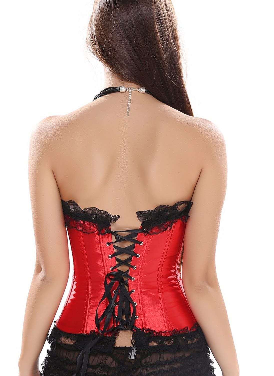SODAO Women's Sexy Lace Up Corset Court Bustier Corsets