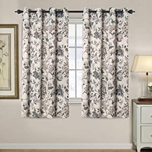 H.VERSAILTEX Room Darkening Curtains for Living Room Thermal Insulated Blackout Grommet Window Panels - 52 by 63 inch Length, 2 Panels, Traditional Floral Pattern in Sage and Brown