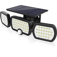 Luz Solar Exterior 3 Cabezas, Romwish 80 LED 3 Modos Luz con Sensor de Movimiento Solar…