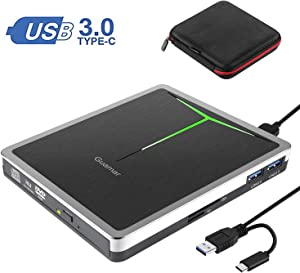 External CD DVD Drive Guamar 5 in 1 USB 3.0 USB C CD DVD Drive CD Player Burner Writer Optical Drive Compatible with Laptop/MacBook/Windows/PC Supports SD Card/TF Card/2 USB 3.0 Transfers (Sliver)