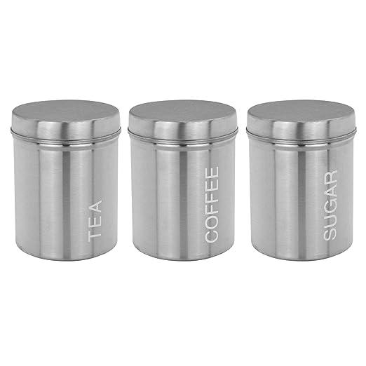 Juego de 3 latas de ventana de caf/é y az/úcar Homiu Tea Silver