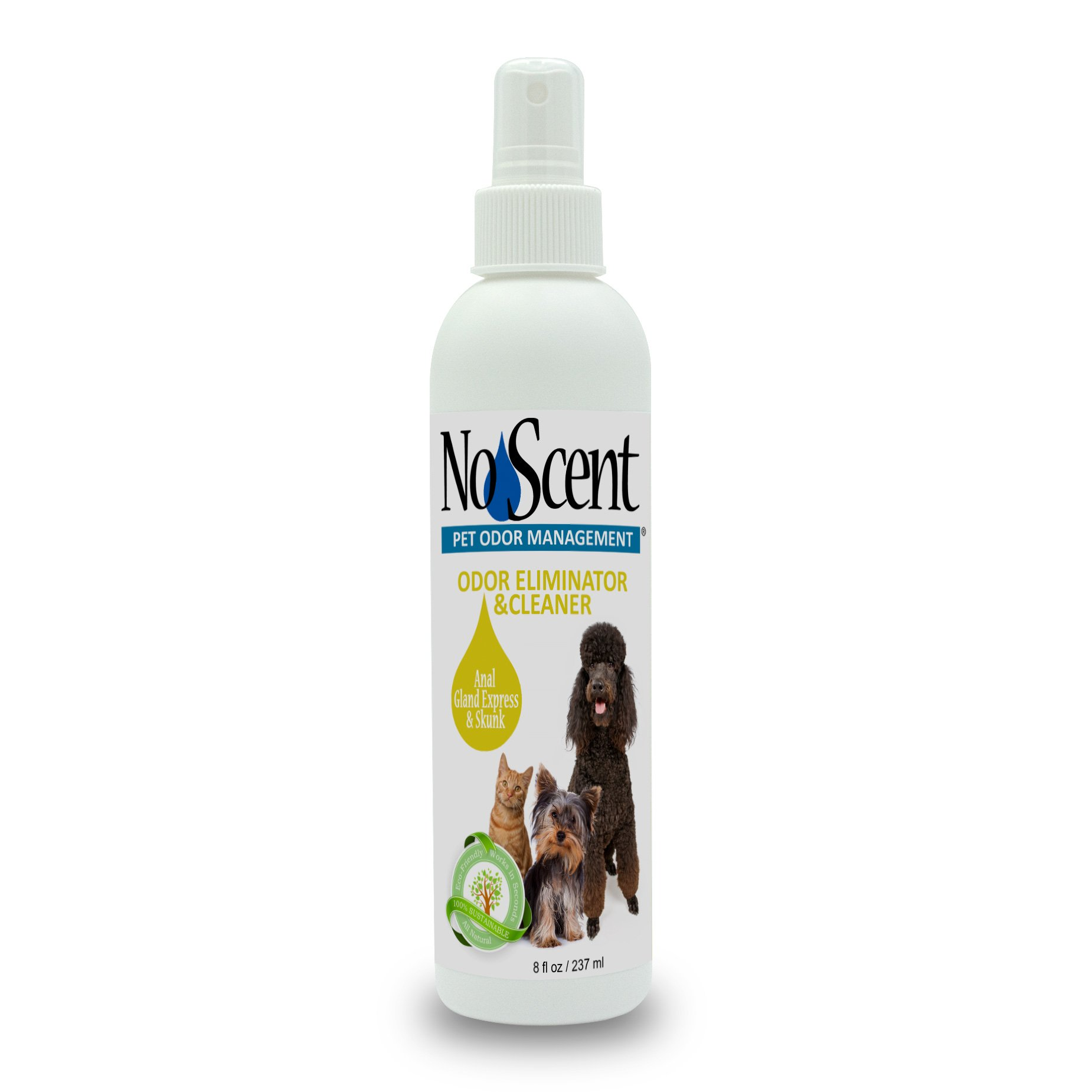 No Scent Anal Gland Express & Skunk - Professional Pet Grooming and Skunk Odor Eliminator & Cleaner - Safe Natural Fast Microencapsulating Spray on Fur Smell Remover for Dogs and Pets (8 oz)