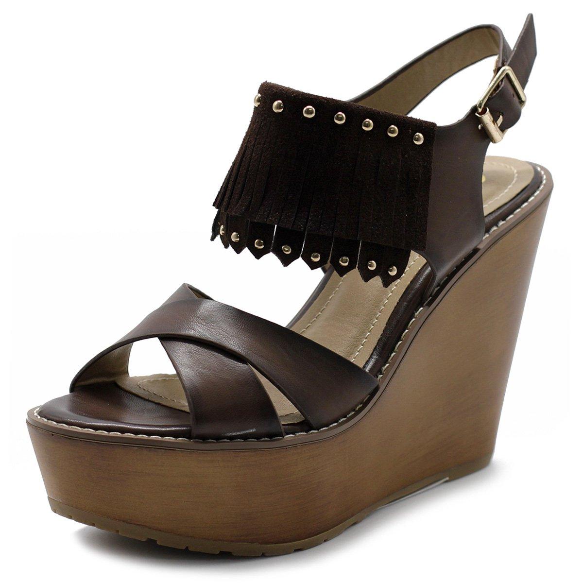 Ollio Womens Shoe Burnish Vintage Faded Fringe Wedge Heel Sandal B01CPOALUW 8.5 B(M) US|Brown