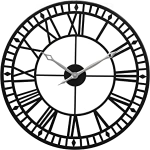 """Large Wall Clock, 24"""" Round Oversized Ancient Roman Numeral Style Home Décor Analog Metal Clock-Indoor Silent Battery Operated Metal Country Farmhouse Decorative Wall Clock for Home (Black & Silver)"""