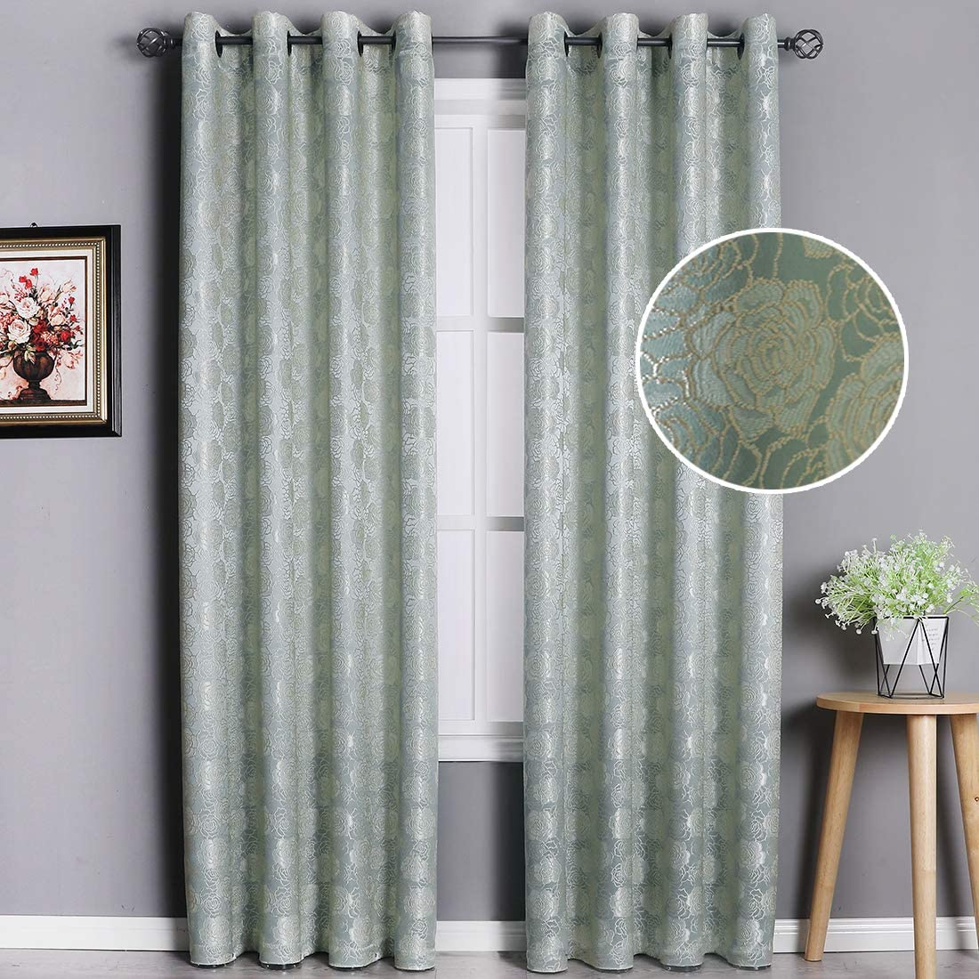 HEJEME Jacquard Curtains 84 Inch Length Rose Embroidered Drapes, 2 Panels Semi-Blackout Curtain for Bedroom and Living Room Sage