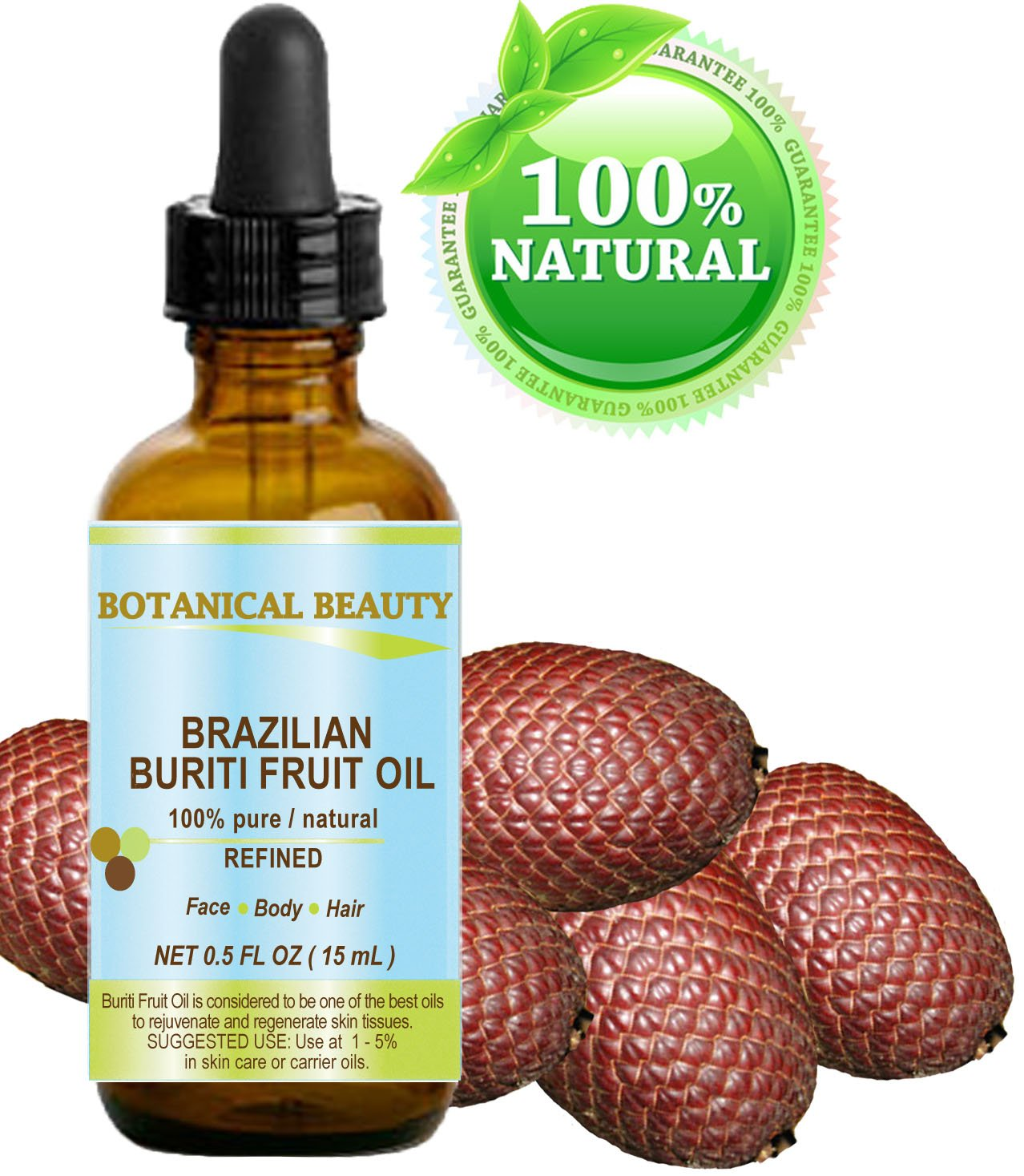 "BURITI FRUIT OIL Brazilian. 100% Pure / Natural / REFINED Undiluted Cold Pressed Carrier Oil . For Face, Body, Hair, Lip and Nail Care. 0.5 fl.oz - 15ml. ""One the richest natural source of vitamin A, E and C"" From Amazon Rainforest. Botanical Beauty"