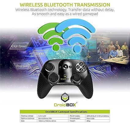 DroidBOX Play Gamepad – Bluetooth 3.0, batería de ion de litio recargable para Android y