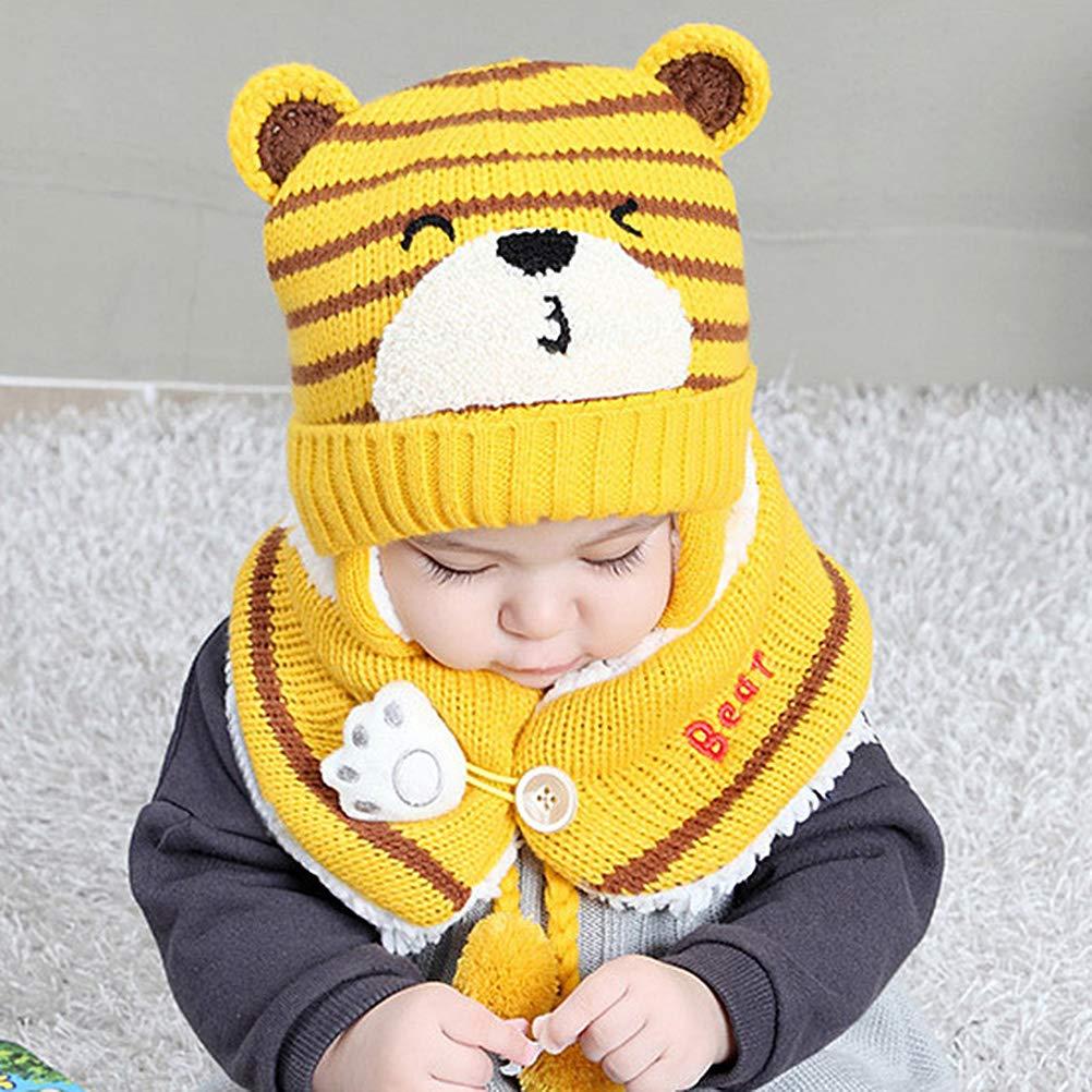Berretto per Bambini Eingut Cappello Invernale per Bambini Cappello a Cuffia con paraorecchie per Bambini con Cappello Lavorato a Maglia con Taglio a Sciarpa