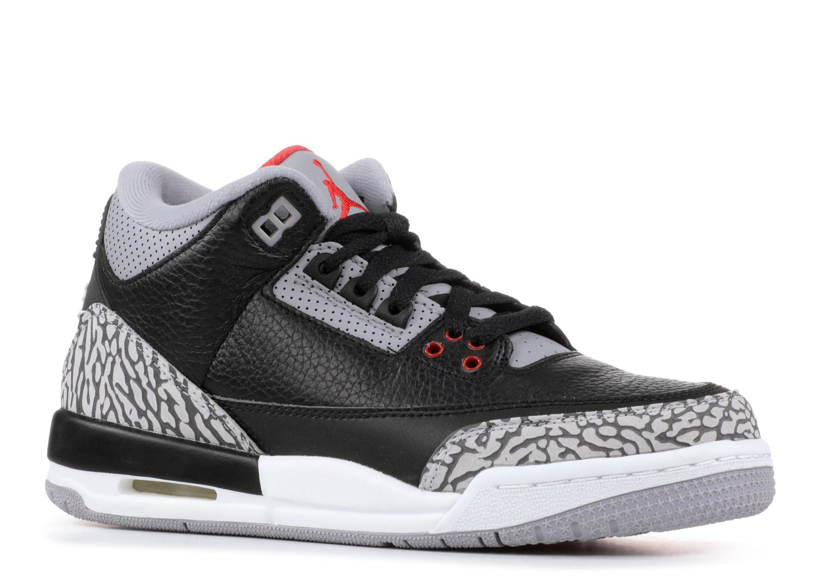 Jordan Air 3 Retro OG Big Kids' Basketball Shoes Black/Fire Red/Cement Grey 854261-001 (3.5 M US)