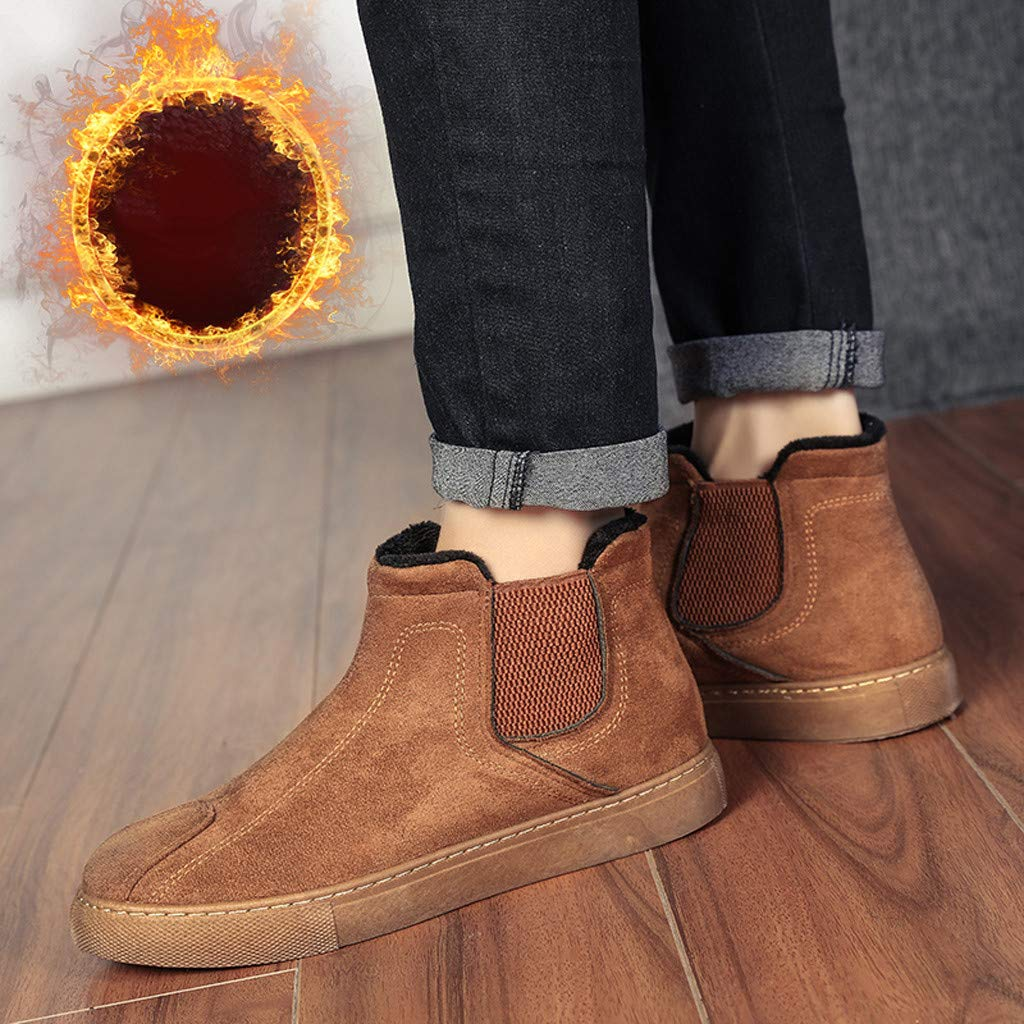 Zolimx Botines de Hombre Zapatos Redondos de Algod/ón Liso Botas de Nieve C/áLidas y de Terciopelo Botas de Algod/ón de Oto/ño e Invierno Botas Cortas de Tobillo Plano Retro